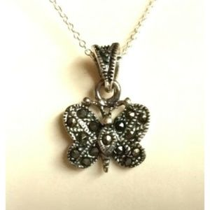 """Sterling Silver Butterfly Necklace 18"""" Marcasite"""